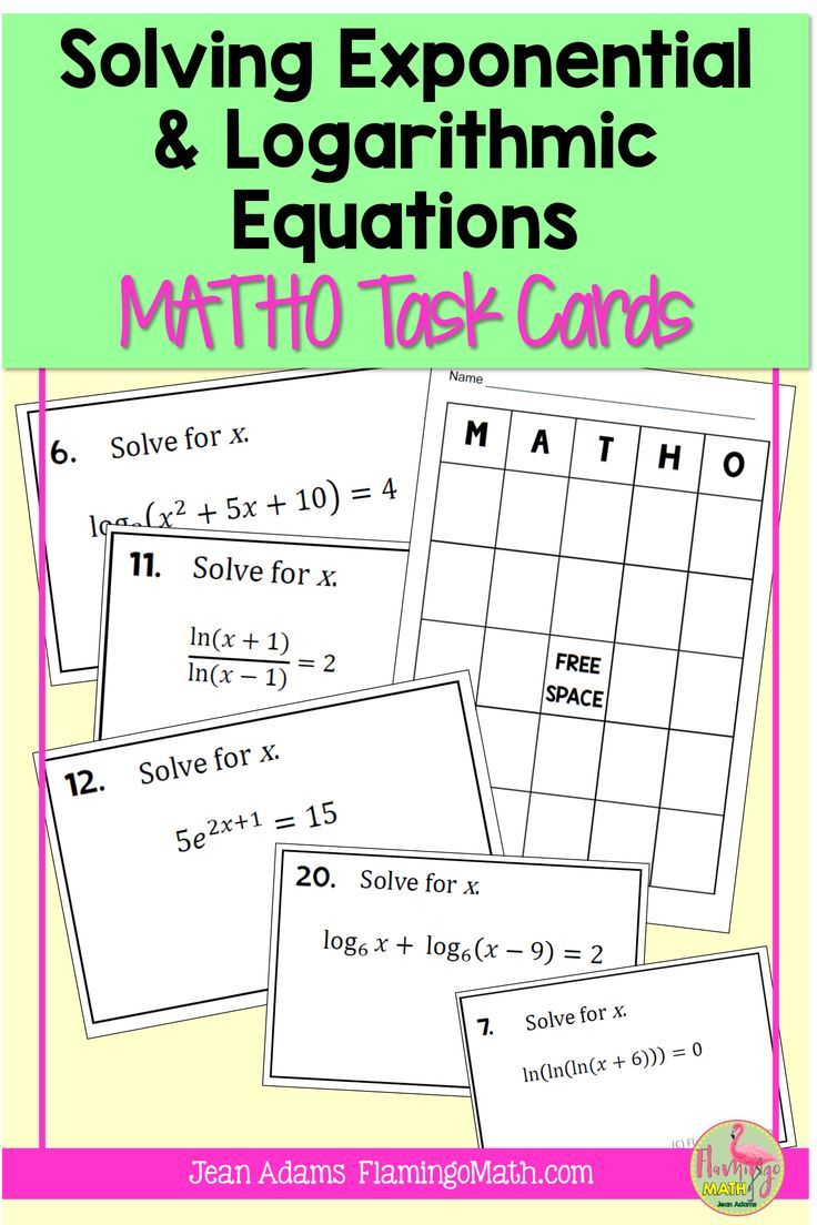 Solving Exponential And Logarithmic Equations Matho Activity In 2020 Exponential Equations School Algebra