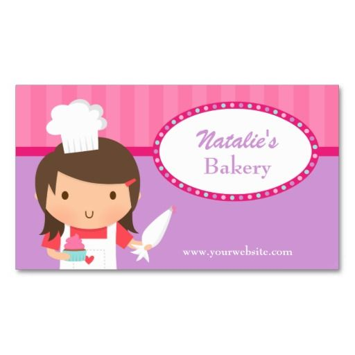 Cute Girl Chef Cupcake Bakery Cafe Pink Purple Business Card - chef templates