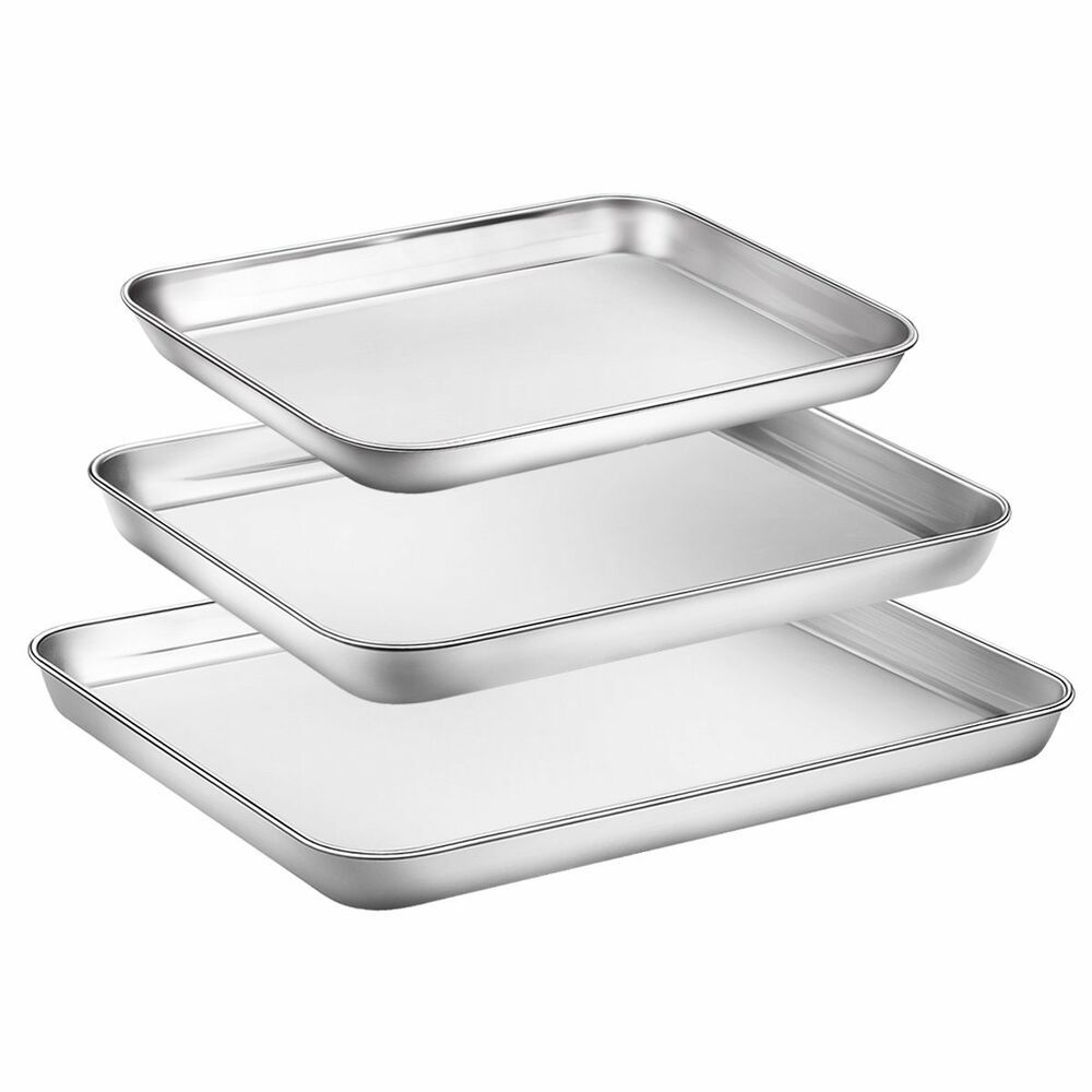 Baking sheet set of 3 stainless steel cooking 3 pieces