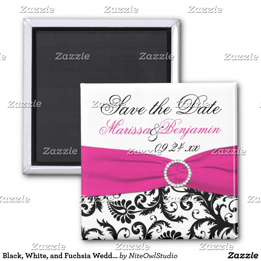 Black, White, and Fuchsia Wedding Favor Magnet | Favors and Weddings