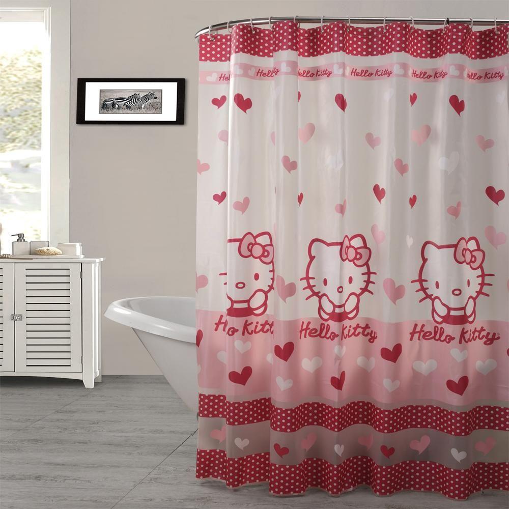 Hello Kitty Semi Transparent Shower Curtainwer Curtain Cute