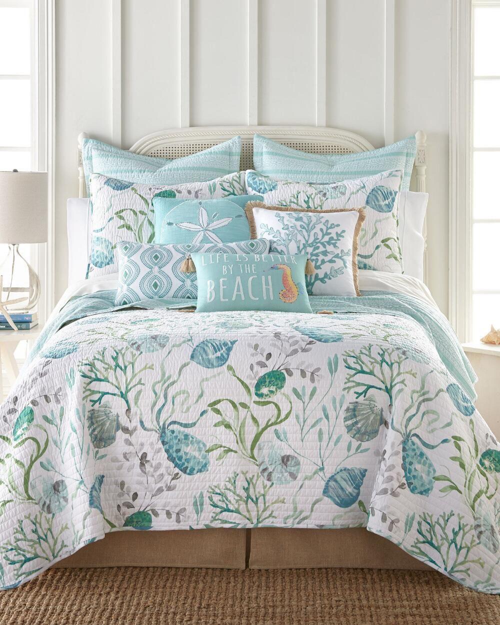 Grand Cayman Teal Luxury Quilt Coastal bedrooms, Bedroom