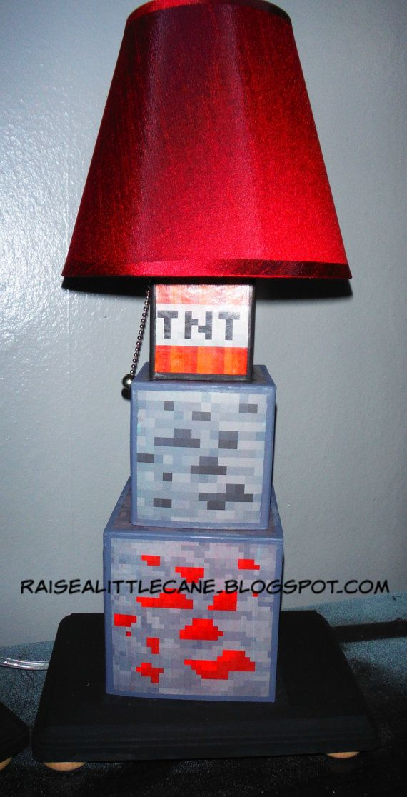 Minecraft Inspired Desk Lamp By Raisealilcane On Etsy Minecraft And Video Game Room Craft Minions Chambre