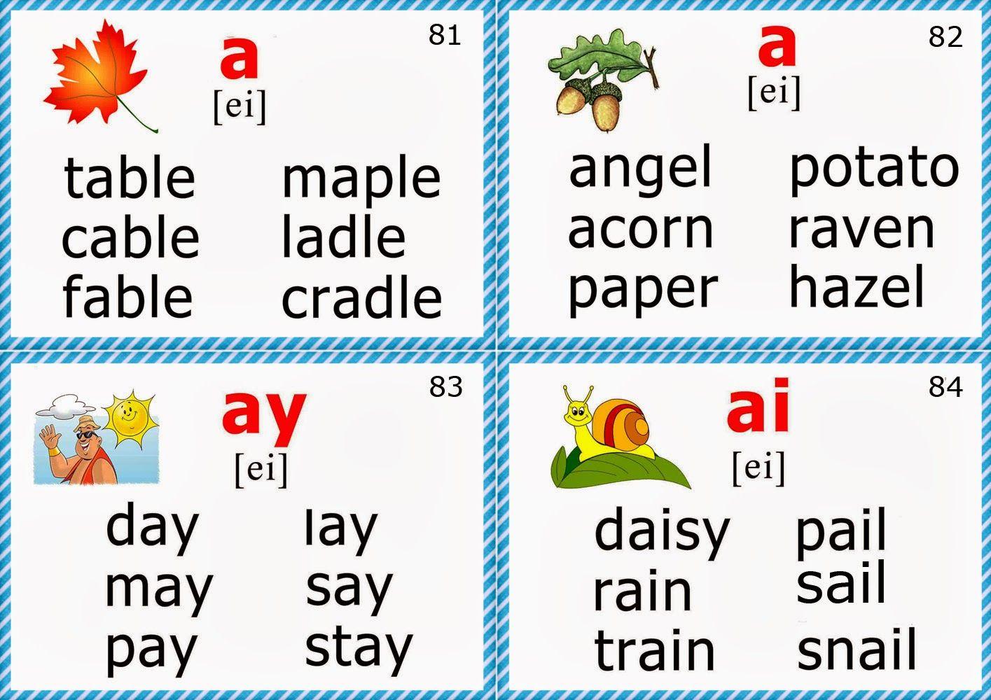 phonics flashcards for teaching English long a sound | english ...