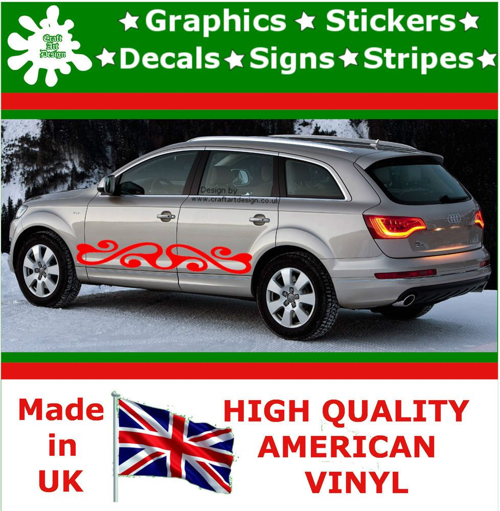 X Large Car Side Strips Flame Graphics X Decal Vinyl Stickers - Custom vinyl decals for caravans