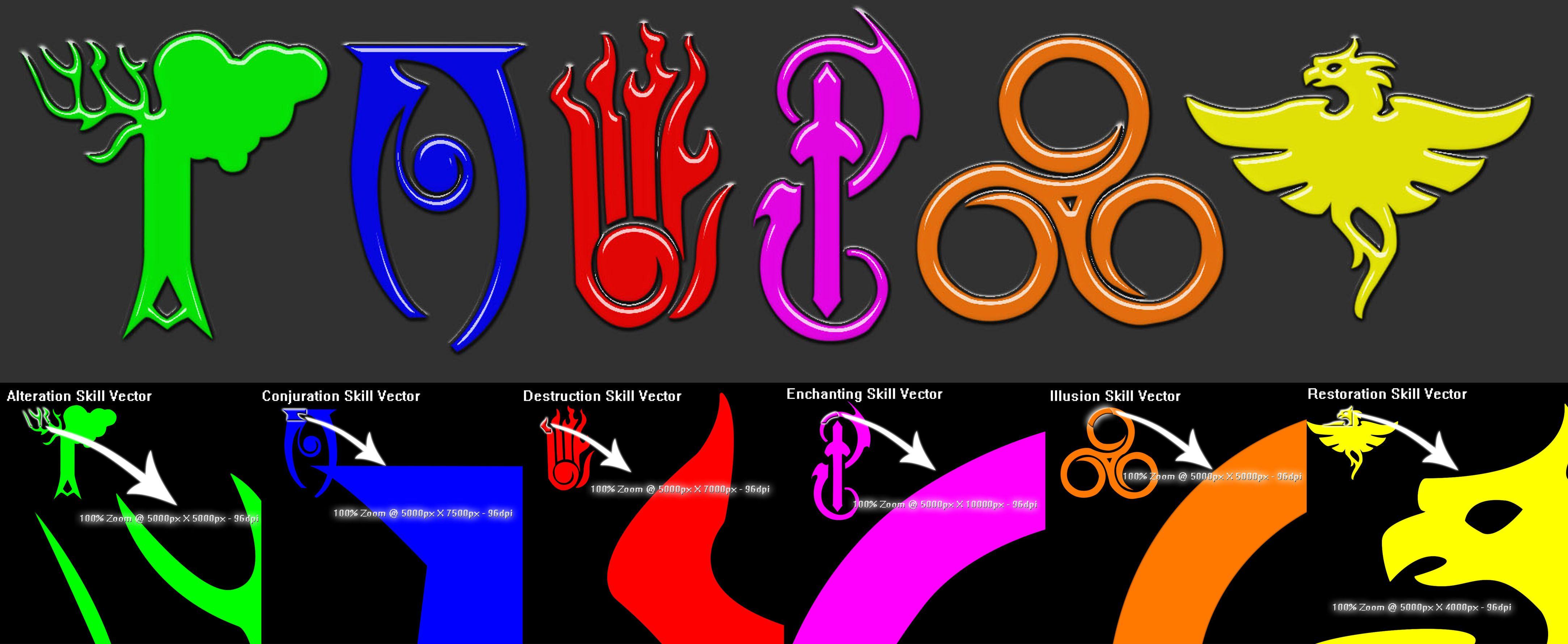 Skyrim 6 schools of magic symbol vectors by jeclxohkoiantart skyrim 6 schools of magic symbol vectors by jeclxohkoiantart on buycottarizona Image collections