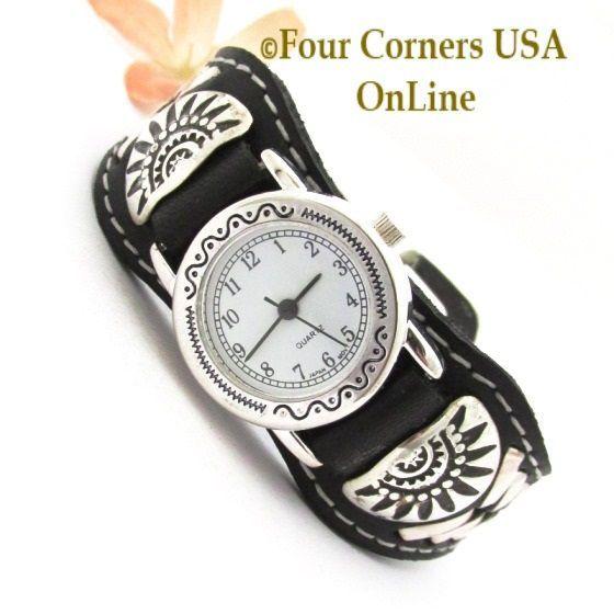 Four Corners USA Online - Women's Sterling Leather Watch Strap Southwest Motif F...