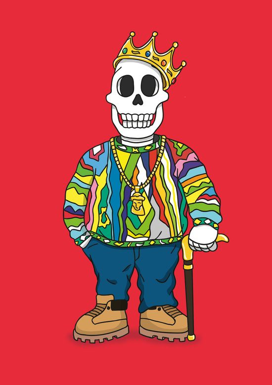 Biggie Skulls Art Print By Zhi Yun Biggie Smalls Art Skull Art Print Art Golden tooth crown cartoon character stands smiling showing peace hand gesture with crown on head and gold chain around neck isolated on white background, vector illustration. biggie skulls art print by zhi yun