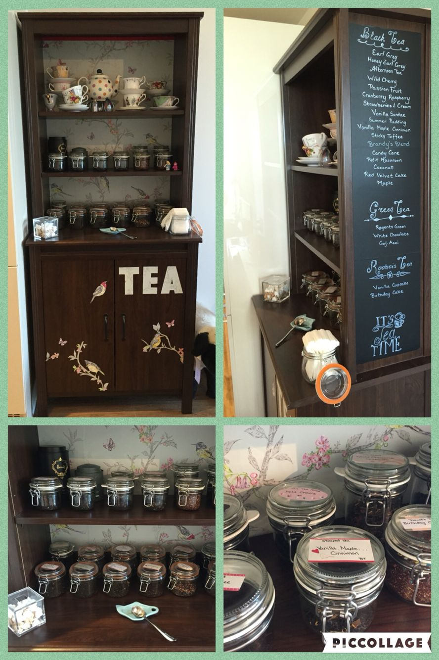 Ikea Brusali High Cabinet Wallpaper Backing Decoration And Chalk Board Menu Diffe Jars Used To Hold 24 Teas Labels By Kikki