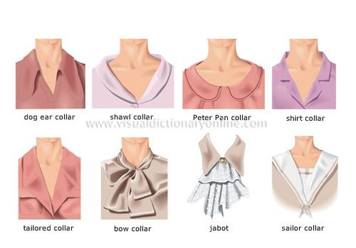 List of fashion terms and styles of collars of womens for Different types of dress shirt collars