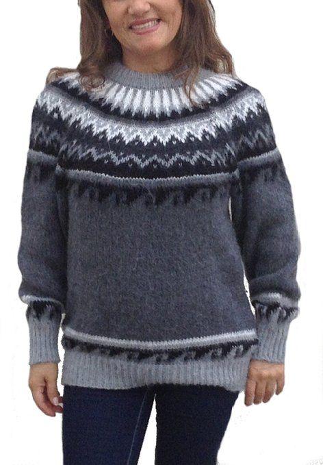 Grauer damenpullover aus weicher alpakawolle gefertigt norweger stil mit rundhalsauschnitt - Fair isle pullover damen ...