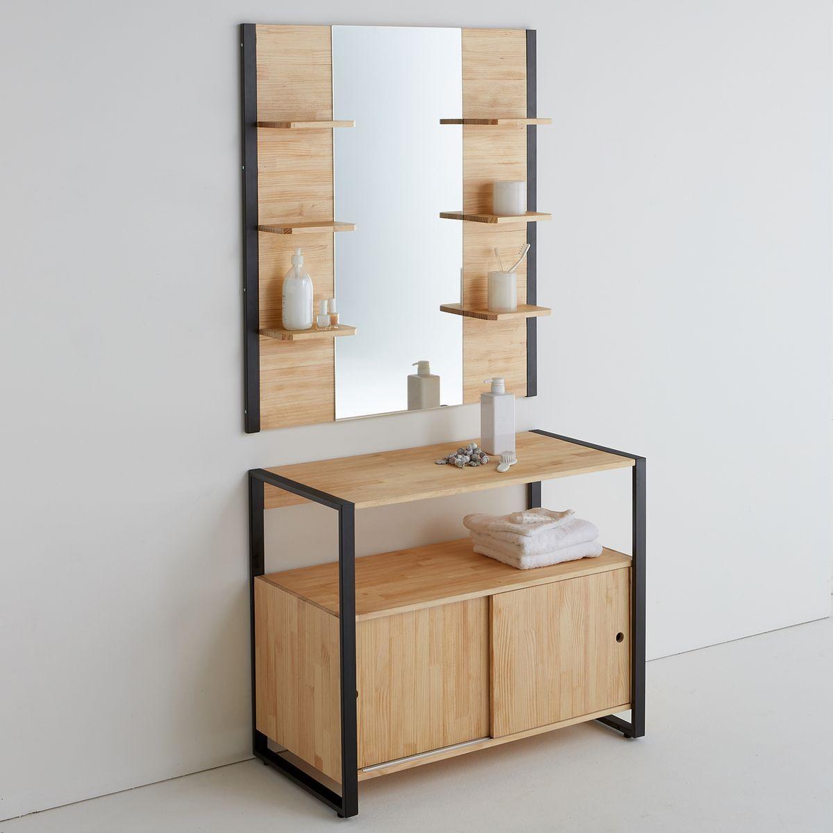 Miroir De Salle De Bains Pin Massif Et M Tal Hiba Miroirs De