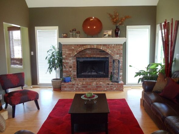 Living Room Red Brick Fireplace Decor