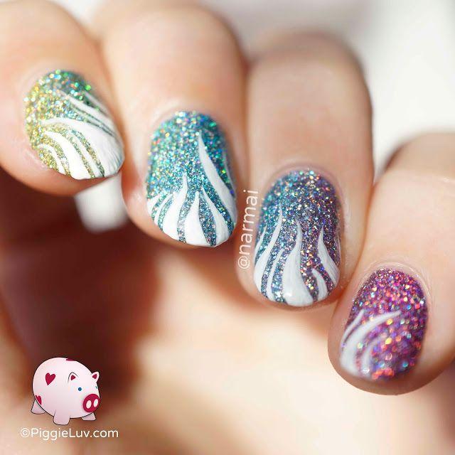 Piggieluv Rainbow Bubbles Nail Art: Dynomite Holo Rainbow Gradient Nail Art