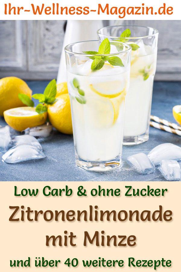 Zitronenlimonade mit Minze selber machen - Rezept ohne Zucker & Low Carb
