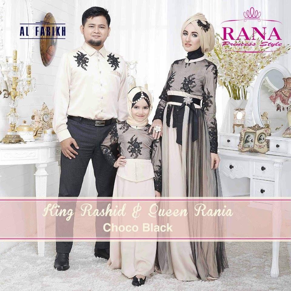 Sarimbit Keluarga Queen Rania Gamis Modern Pesta Choco Black