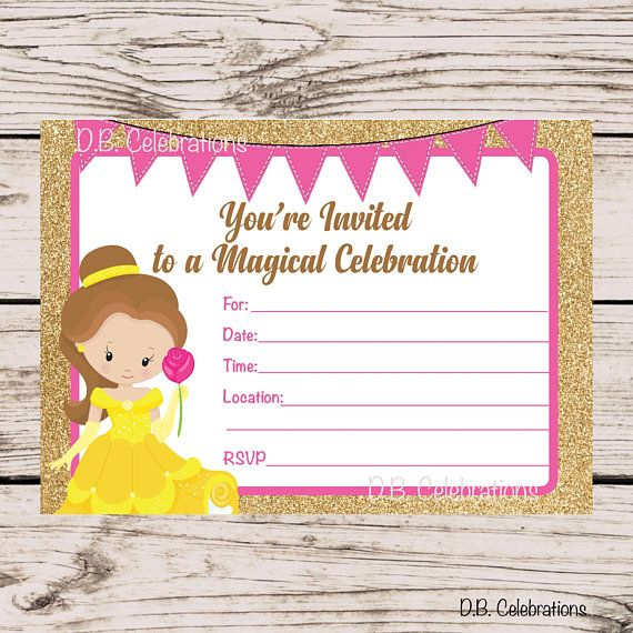 Princess Birthday Party Invitation Fill In The Blank INSTANT DOWNLOAD Printable Invite Beauty Beast Belle