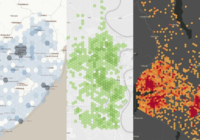 Hexagon Binning Examples by MapBox, via Flickr | Graphs and Diagrams