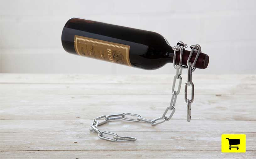 chain and lasso appear to capture wine bottles mid-flight