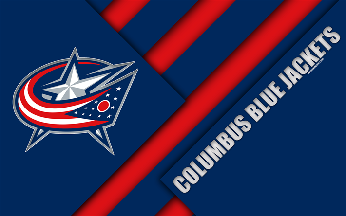 Download Wallpapers Columbus Blue Jackets 4k Material Design Logo Nhl Blue Red Abstraction Lines American Hockey Club Columbus Ohio Usa National Hock Columbus Blue Jackets Material Design American Hockey