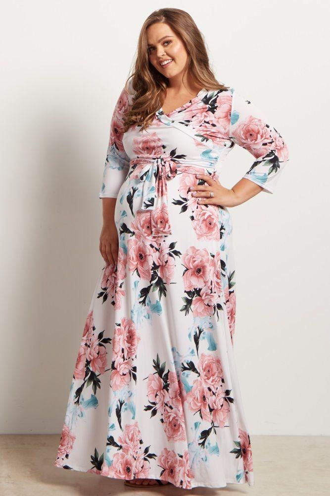 3895101e54e White Floral Sash Tie Maternity/Nursing Plus Maxi Dress | maternity ...