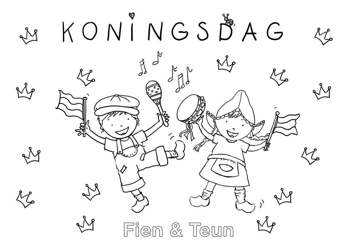 Fien En Teun Kleurplaat Google Suche Koningsdag Ideen