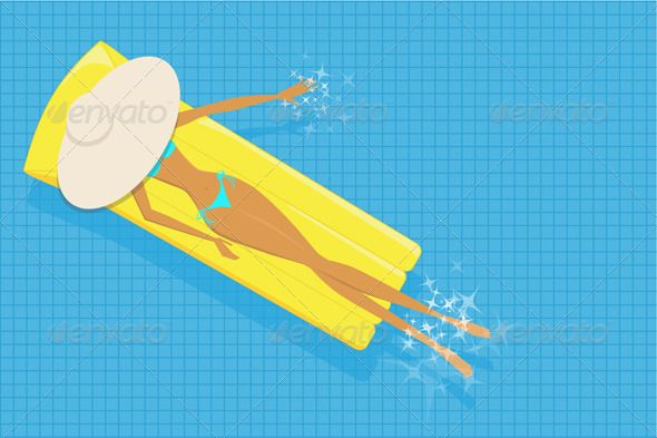 Woman Sunbathing in The Pool - Vector Illustration Sexy, Pools and