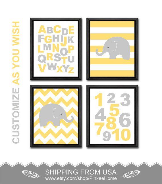 abc nursery elephant nursery ABC poster chevron elephant modern kids ...