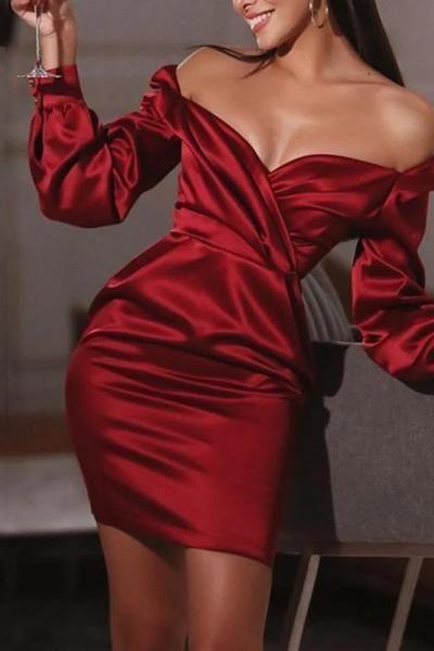 Maternity Elegant Deep V-neck Long Sleeve Bag Butt Solid Color Dress – Dress