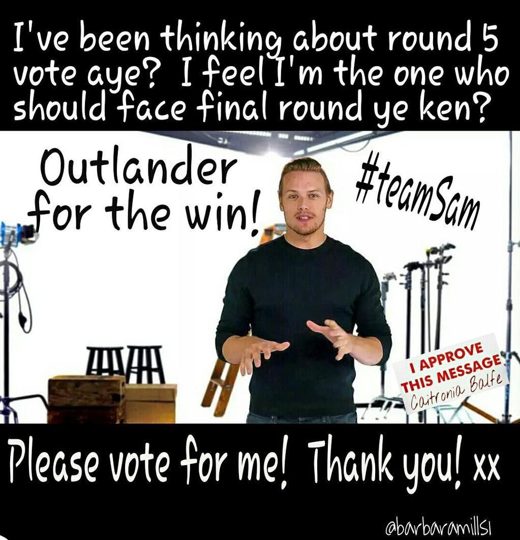 Final round will be tough Need our best Warrior Vote #TeamSam Love Cait & Sam #Outlander 1st http://www.radiotimes.com/scifichampion  pic.twitter.com/l3opVHVlJ1