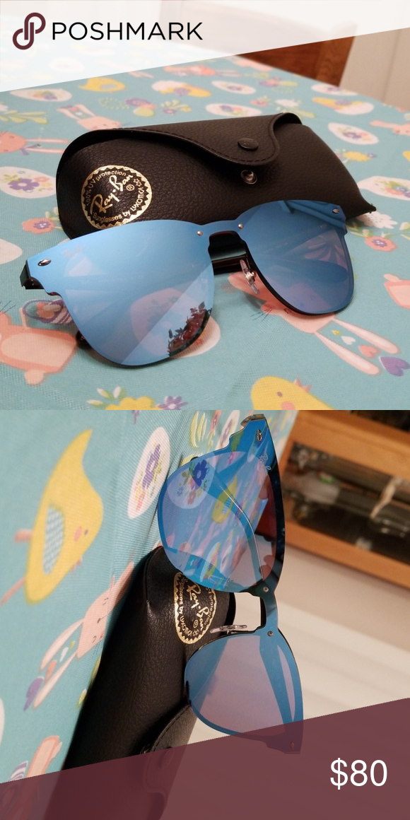 e8f31ab2b6ced Ray Ban blue clubmaster blaze sunglasses Here are a pair of blue clubmaster  sunglasses from Ray Ban s blaze line. They are like new hardly worn.