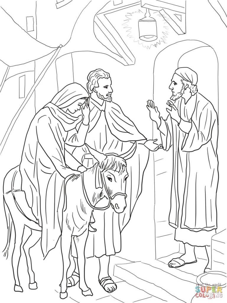 15 No Room At The Inn For Mary And Joseph Coloring Page Nativity Coloring Pages Christian Coloring Bible Coloring Pages