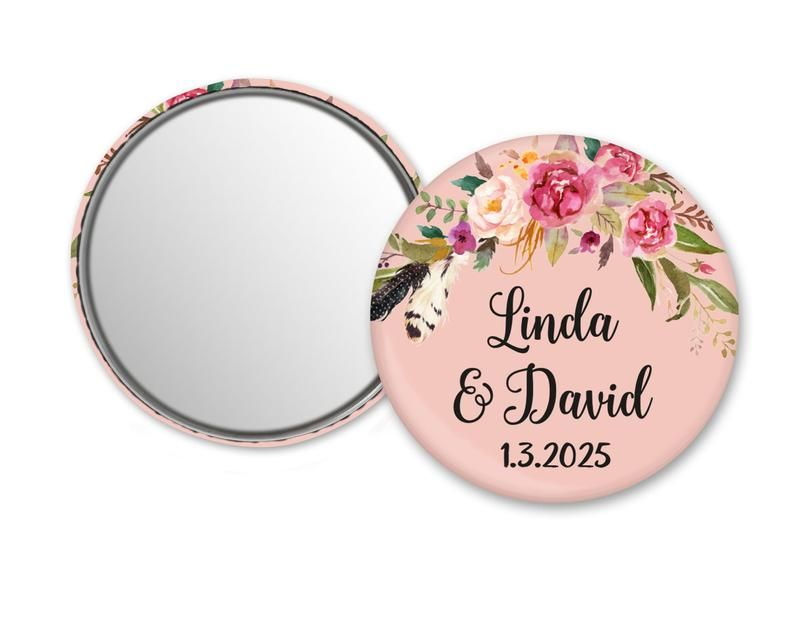 PERSONALISED HANDBAG MIRROR GIFT FREE DELIVERY 59MM