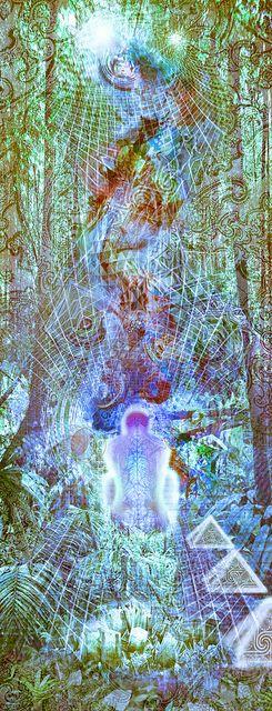 Una Selva Arbolada Vibracional Alumbra Experiencia Mediterránea De cristal por eceertrey *ravenectar *visionaryart *art *trippy *psychedelic *sacred