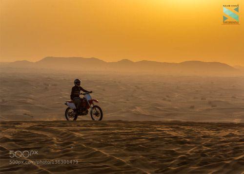 Aloof Biker by contactnajib  D7100 Weekend Activities alone biker desert desert safari dubai enjoying happy leisure activity life