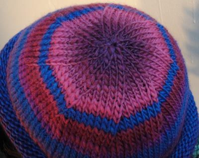 Colorful Striped Roll Brim Hat Knitting Pattern  Size 10 US (6 mm) 16 or  20