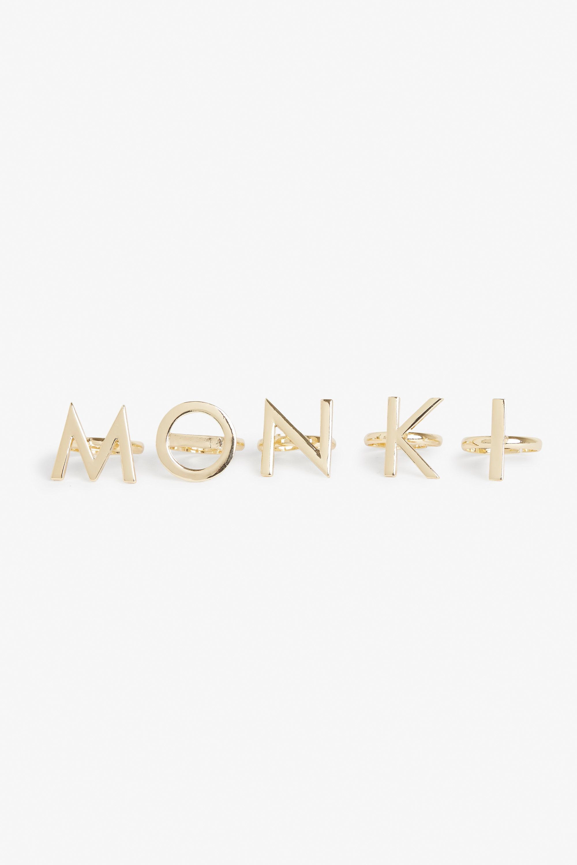 What luck! 5 letters, 5 fingers  It's a M O N K I  ring