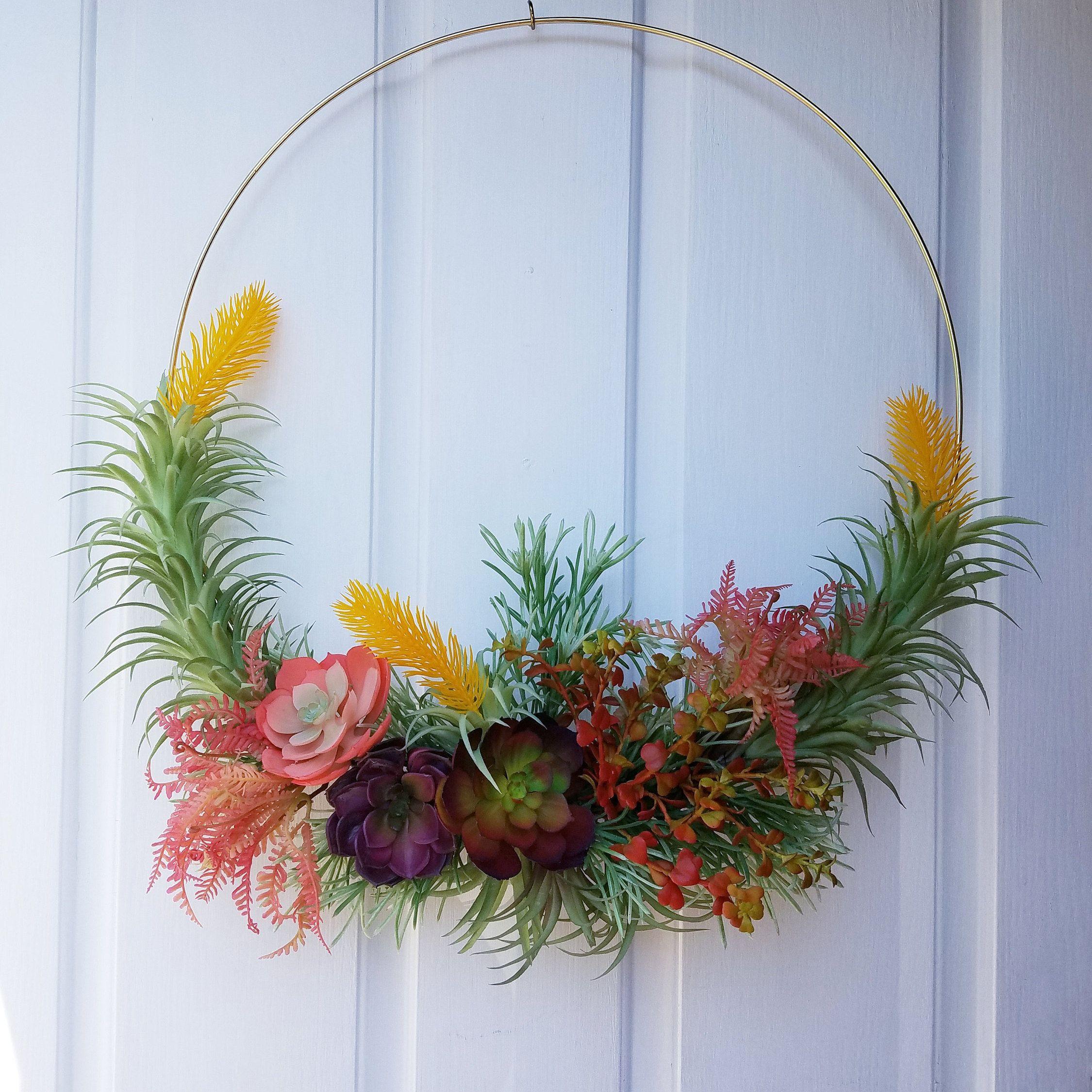 Photo of Succulent Wreath, Modern Hoop Wreath , Wreath for Front Door, 20 Inch Hoop Wreath
