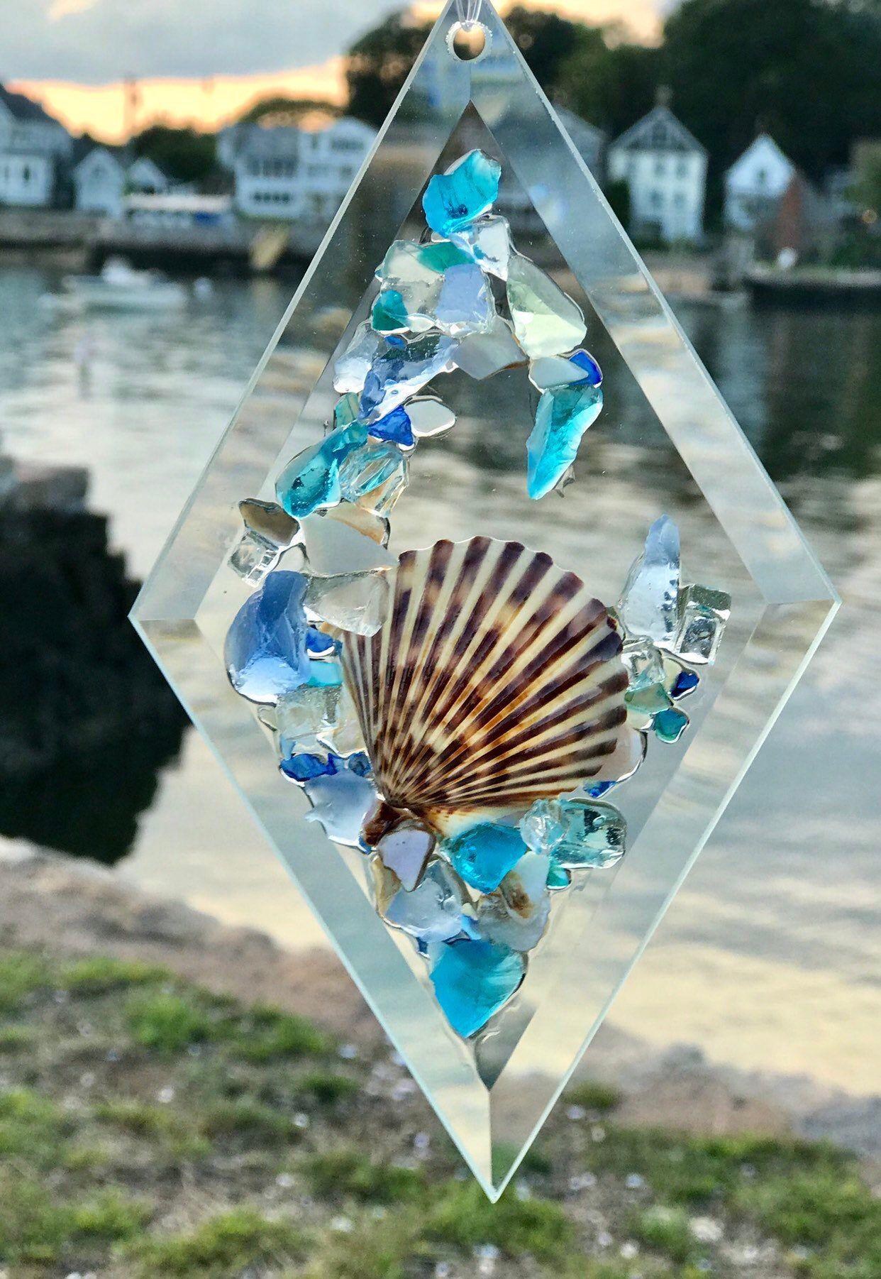 Photo of 4×7 Beach Glass Sun Catcher //Beach Glass SunCatcher //Beach Ornament//Suncatcher Ornament,//…