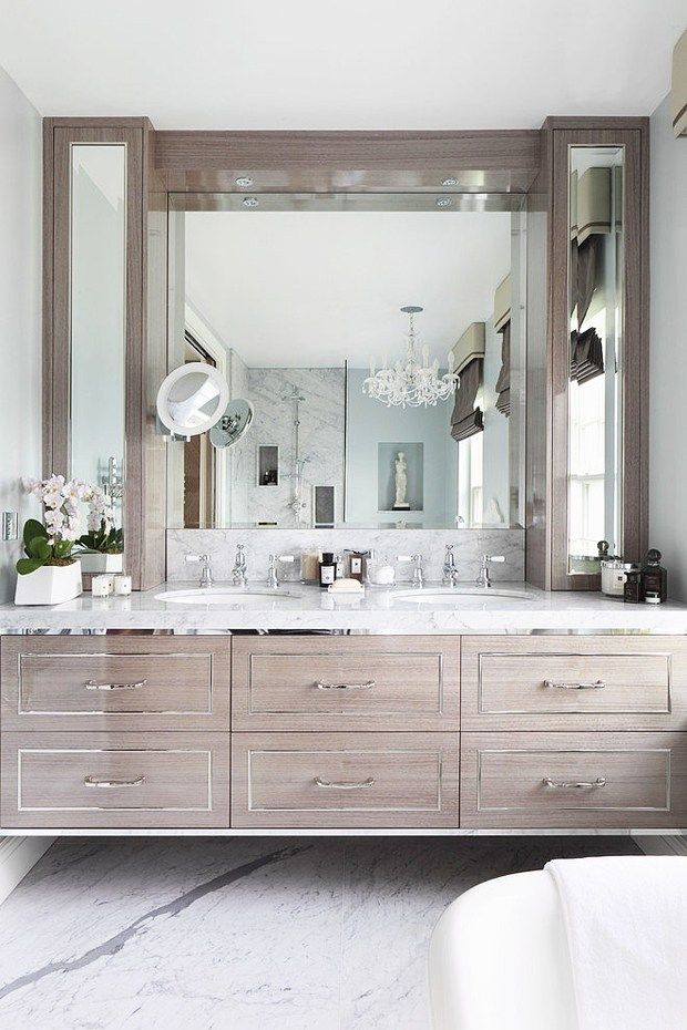 Bathroom With A Glamorous Oak And Chrome Floating Vanity Designed By Oliver  Burns, Via @sarahsarna.