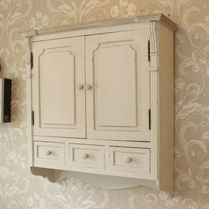 Lyon Range Cream Wall Mounted Cupboard With Drawers Cream Walls