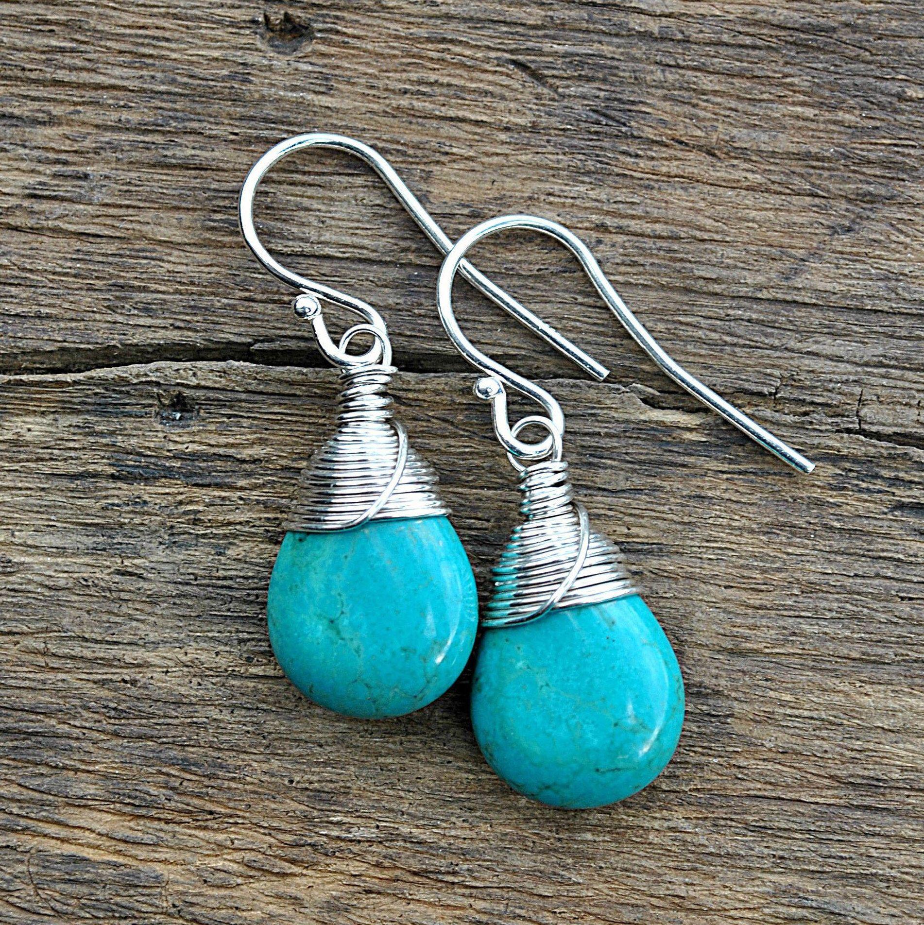 Turquoise Earrings Oxidized Sterling Silver Genuine Turquoise Dangle Earrings Real Turquoise Wire Wrapped Earrings Gift For Women