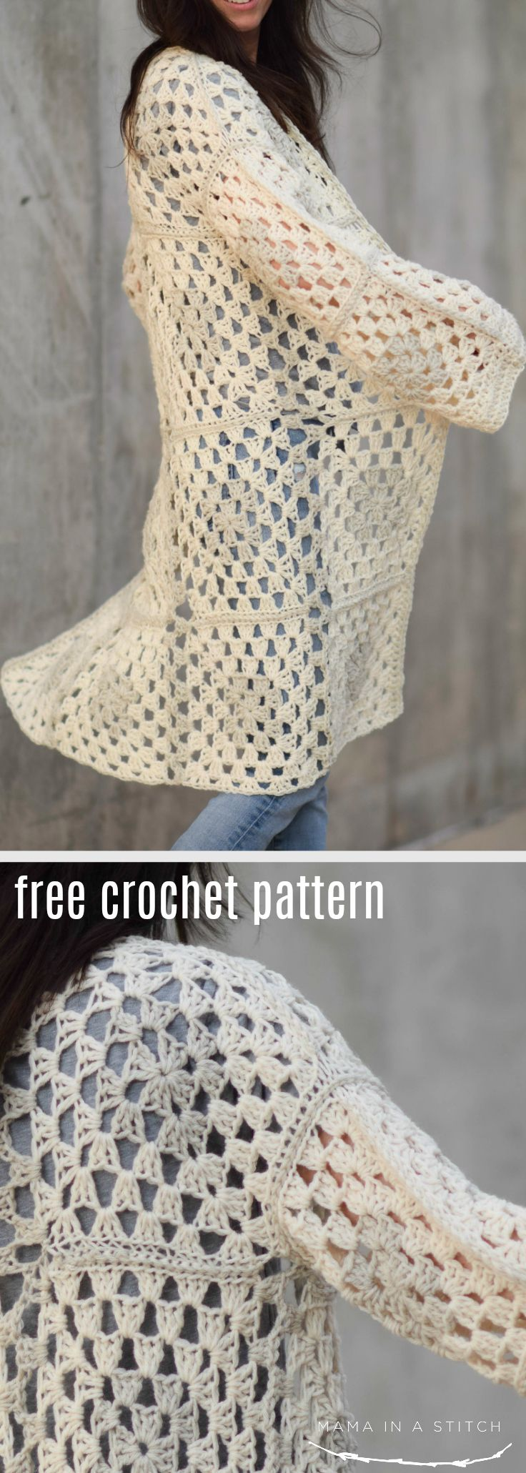 8fcc3bbb1a54 This crocheted sweater pattern is so cute for fall and winter! It s easy to  make with granny squares and there are links to tutorials throughout the  free ...