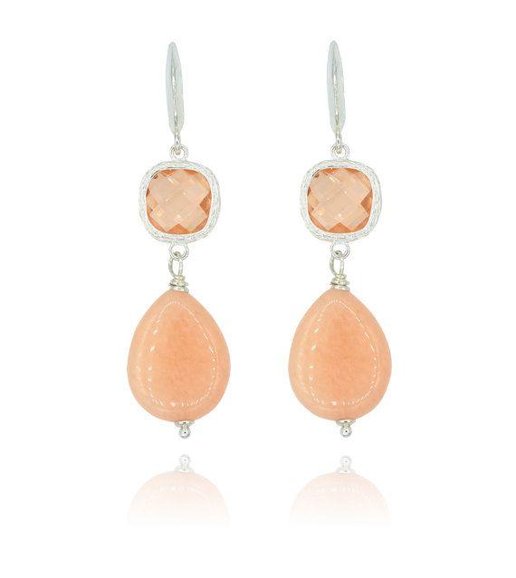 Long peachy aventurine earrings silver and peach by Dutchini