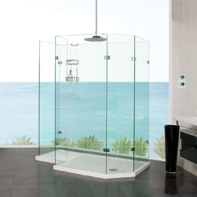 Sculptures Freestanding Angled Walk In Shower Enclosure A