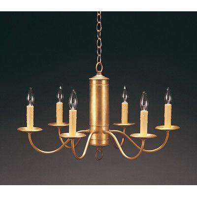 Northeast Lantern Socket Hanging Cylinder J-Arms 6 Light Candle-Style Chandelier Finish: Verdi Gris