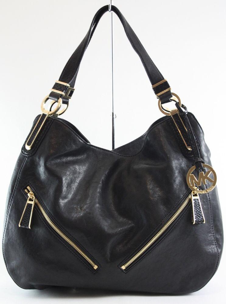 93eb30b433f3 Michael KORS Black LEATHER Matilda Large Shoulder TOTE Satchel Bag ...