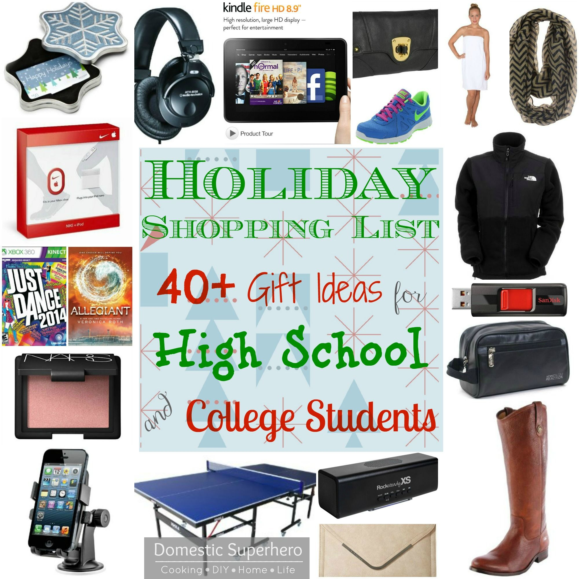 Holiday Shopping List 40 Gift Ideas For High School And College Students Part 2 Gifts For College Boys Holiday Shopping Lists 40th Gifts
