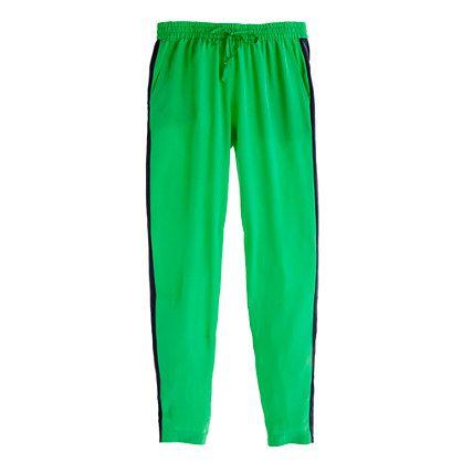 Green Silk colorblock pant J Crew
