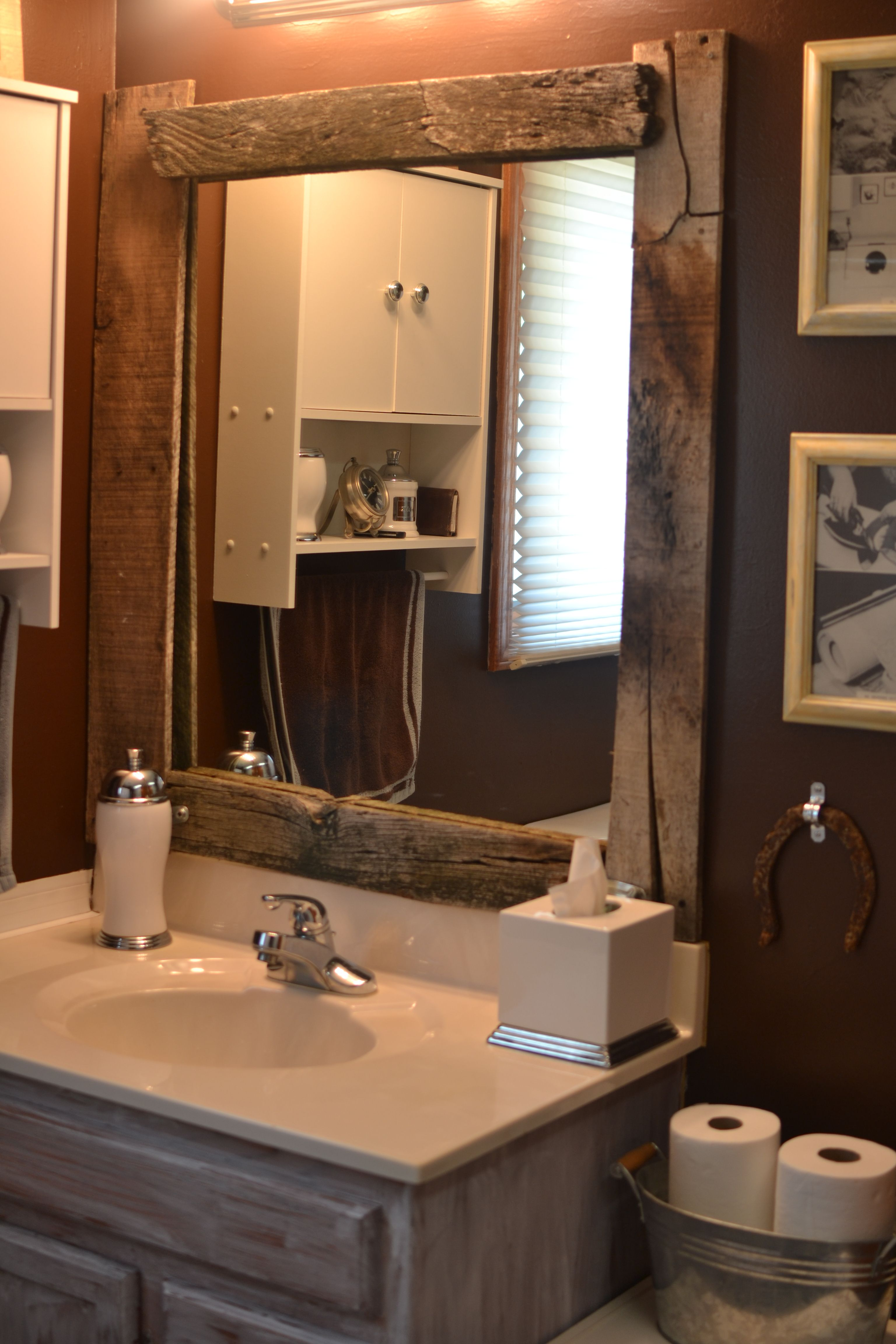 DIY barn wood framed mirror Id love to retrim and re
